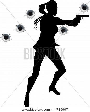 Herói de ação mulher em silhueta de luta de arma