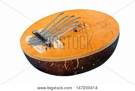 African played by plucking musical instrument kalimba isolated on white background.