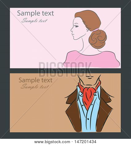 A retro silhouette of a man and women in suit, vector sketch, the background