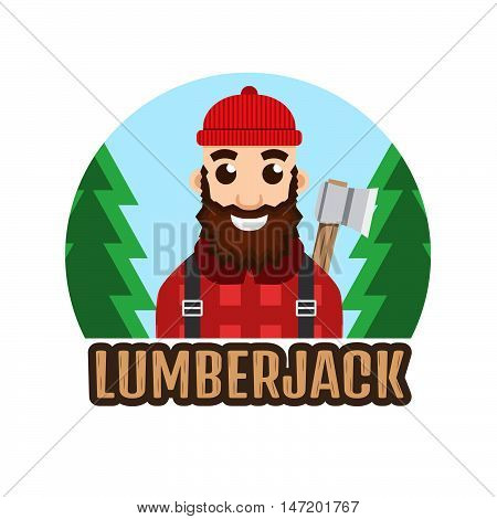 Lumberjack or Woodcutter logo vector character illustration