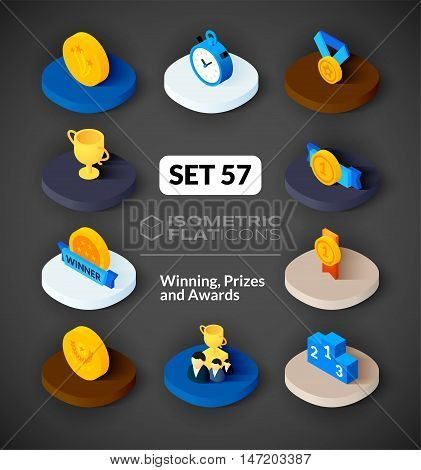 Isometric flat icons, 3D pictograms vector set 57 - Winning, Prizes and awards symbol collection
