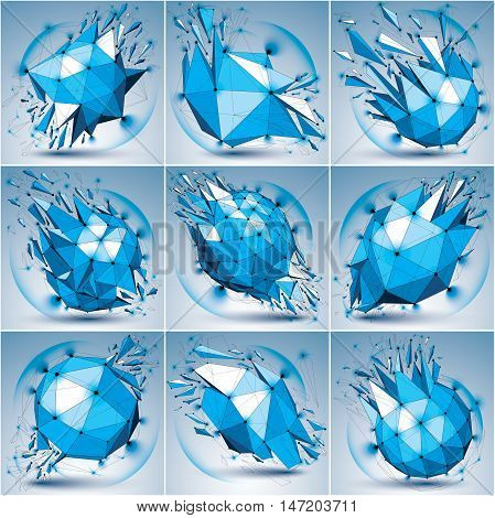 Set of abstract 3d faceted radiance blue figures with connected black lines and dots. Vector low poly shattered design elements with fragments and particles. Explosion effect lens circles.