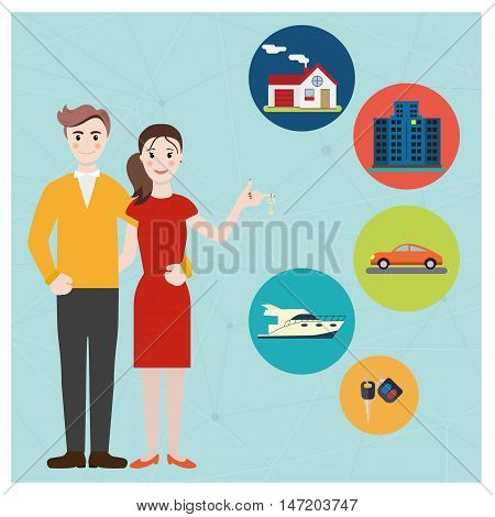 Young family hold a key buying a home, car, yacht. Happy young couple dream about new house. Vector colorful illustration in flat design.