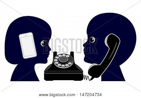 Old Telephone versus Mobile Phone. Making a phone call in the olden days compared to modern telecommunications