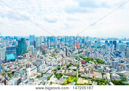 View from above on Tokyo Tower with skyline in Japan from roppongi towers on cloudy day