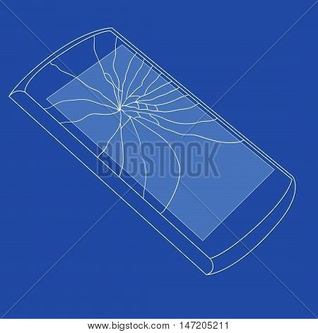 Mobile icons background vith smashed Scream shoving Shattered Glass and form it Scream Simple vector illustration