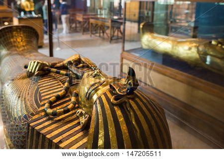 CAIRO, EGYPT - 02 JANUARY 2016 : Tutankhamen's Coffin in Egyptian Museum in Cairo.