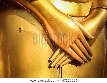 Buddha statue's hand. Generally in Thailand, any kinds of decorated in Buddhist church, etc. they are public domain of Buddhism.