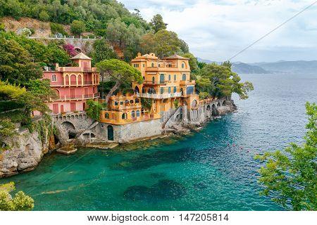 A view of the picturesque coast of Cinque Terre National Park near Portofino. Italy. Liguria.