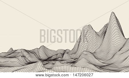Abstract vector landscape background. Cyberspace landscape grid. 3d technology vector illustration.