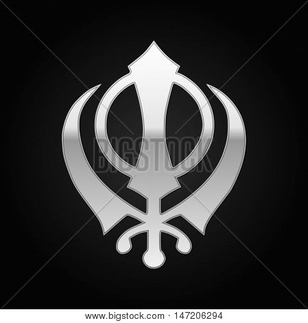 Silver khanda Sikh icon on black background. Vector Illustration