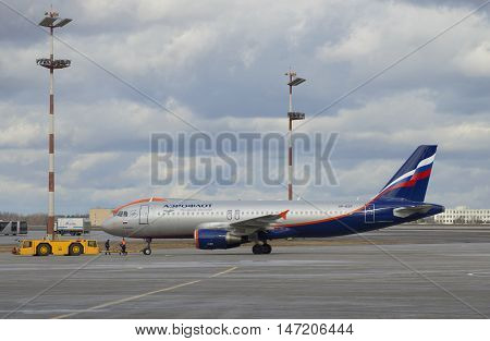 MOSCOW, RUSSIA - APRIL 15, 2015: The plane Airbus A320 (VP-BZP) Aeroflot before departure. Sheremetyevo Airport