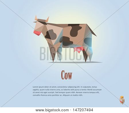 Vector polygonal illustration of black and white cow with milk, modern dairy products icon, low poly style