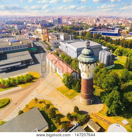 Aerial view to Pilsen in Czech Republic, Central Europe. The city was founded in 1295. Nowadays, the Pilsen metropolitan area covers 125 square kilometres. Its population is 165, 000 inhabitants.