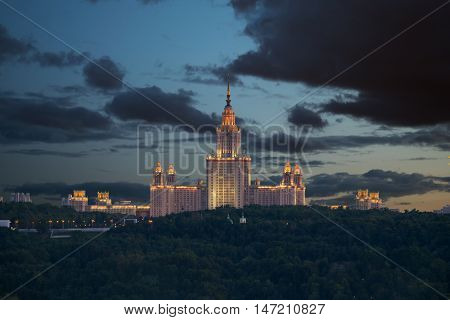 MOSCOW - AUG 21, 2015: Moscow State University - one of Stalin skyscrapers at night, MSU building was built in 1953