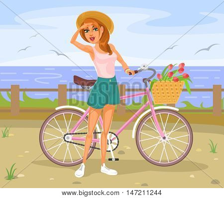The girl standing next to a bicycle on the waterfront
