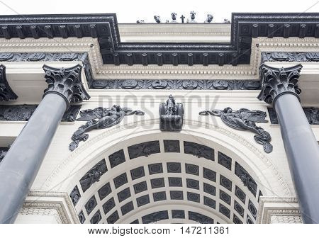 Moscow, Russia -September 04, 2016:Triumphal Arch. First built in the years 1829-34 by the architect O. Bove in honor of the Russian people's victory in the Patriotic War of 1812. Dismantled in 1936. A copy of the gate was built in 1966-68.