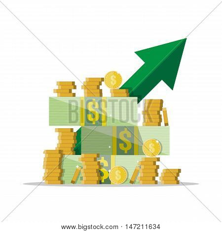 Cash growth. Green arrow. Dollar cash and golden coins. vector illustration in flat style isolated on white