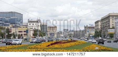 Moscow, Russia -September 04, 2016: Along Kutuzovsky Prospekt moving cars and pedestrians.