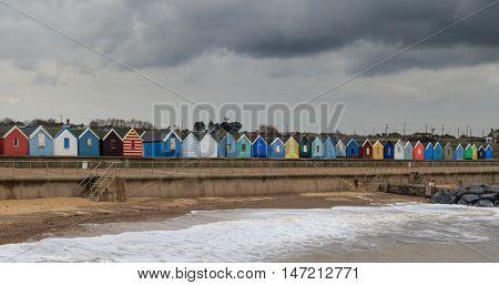 SOUTHWOLD beach huts on the  SUFFOLK coast UK
