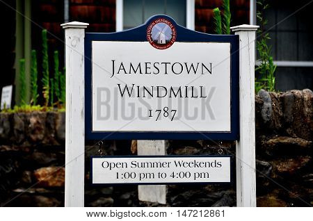 Jamestown Rhode Island - July 18 2915: Sign at the historic 1787 Jamestown Windmill on Conanicut Island
