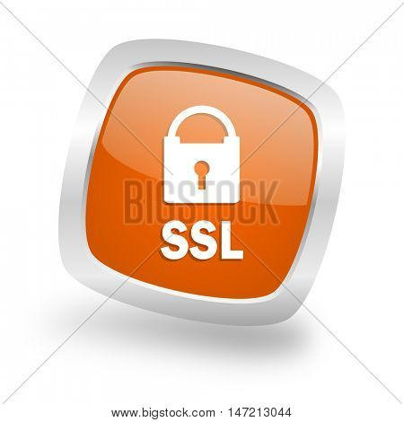 ssl square glossy orange chrome silver metallic web icon