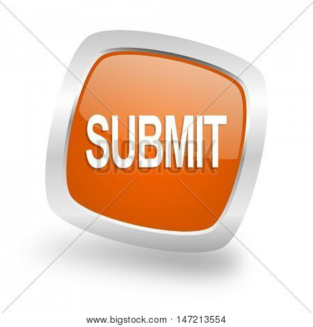 submit square glossy orange chrome silver metallic web icon