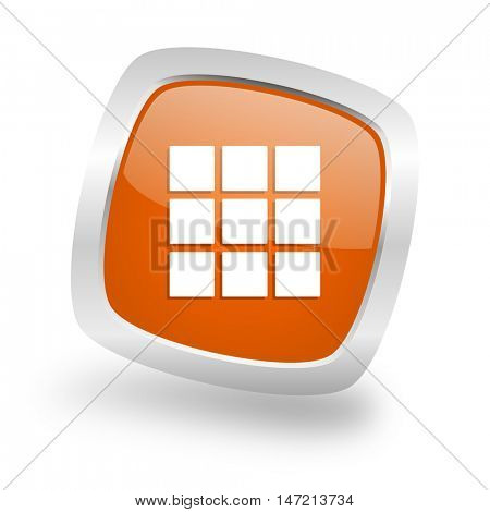 thumbnails grid square glossy orange chrome silver metallic web icon
