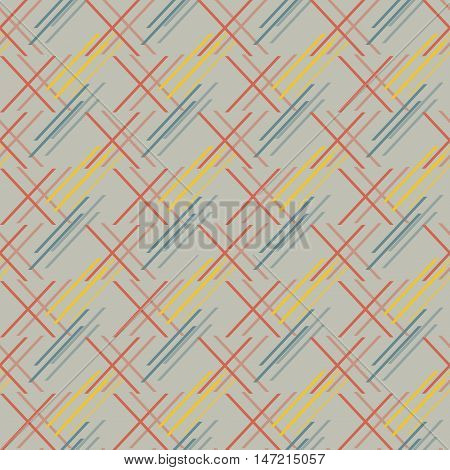 Abstract seamless pattern of oblique segments. Geometric print of short diagonal lines in red, blue, yellow, gray colors. Vector illustration for backgrounds, fabric, paper and other