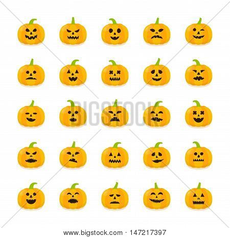 Halloween Pumkin stickers vector set. Halloween isolated icons. Pumkins with different emotions on white background.