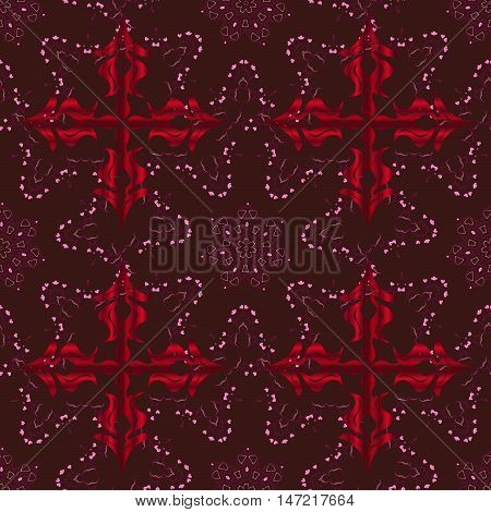 Raster boho chic flower seamless pattern. Mandala design element. Unusual flourish ornament. Red pink lilac. Raster illustaration.