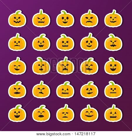 Halloween Pumkin stickers vector set. Halloween isolated icons. Pumkins with different emotions.