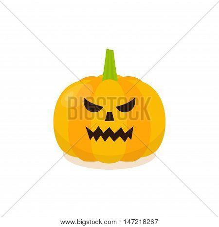Halloween Evil Pumpkin Icon. Isolated pumkin vector illustration.
