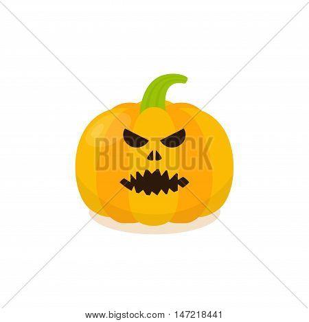 Halloween Pumpkin Icon. Isolated evil pumkin vector illustration.