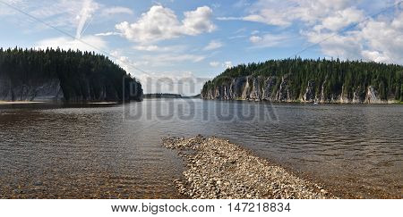 The object of UNESCO world heritage site Virgin Komi forests. Panorama of the taiga river in the national Park Yugyd VA.