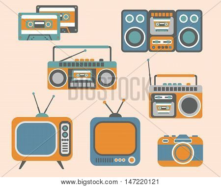 Retro Media electronics, Icons Set, vector illustration of tv, radio, photo camera, cassette, radio tape recorder