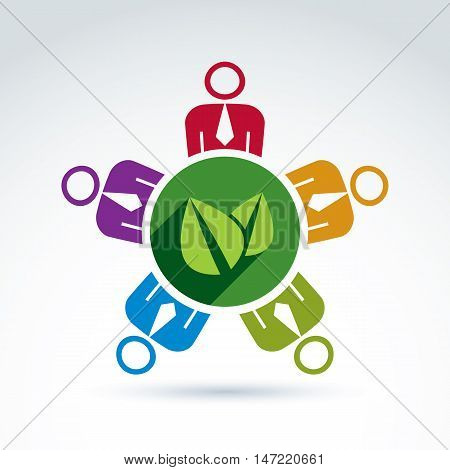 Society or business team working to protect nature and floral life vector conceptual icon.