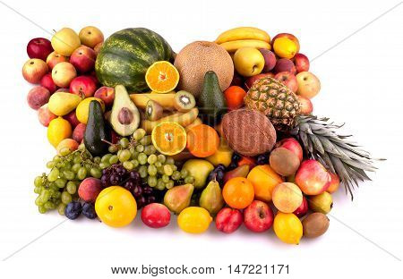Collection of different fruits isolated on white background.