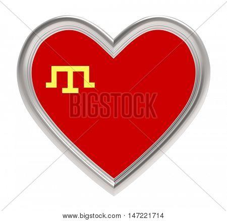 Crimean Tatars flag in golden heart isolated on white background. 3D illustration.