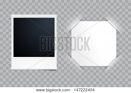 Instant blank photo template with vector paper in photo frame corner on transparent background. Retro photo album with cut frame corners.