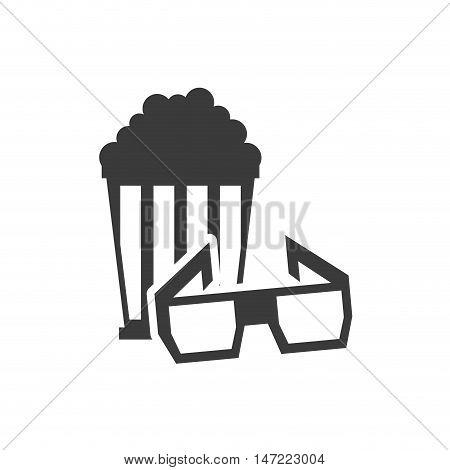 pop corn with cinematographic icon vector illustration design