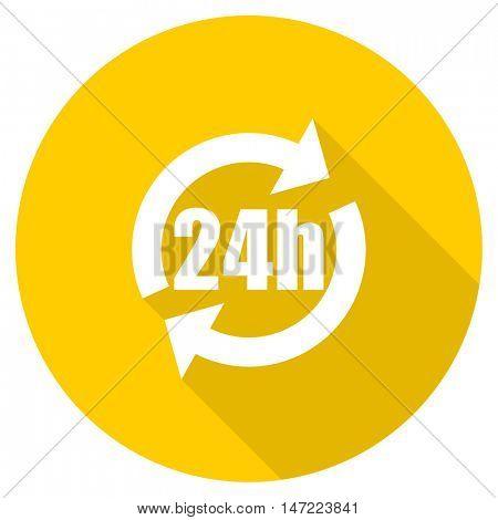 24h flat design yellow round web icon