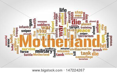 Motherland word cloud. Social concept. Vector illustration.