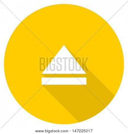 eject flat design yellow round web icon