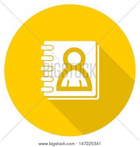 address book flat design yellow round web icon