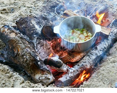 cooking on fire at picnic, food prepared in kettle on wood, potatoes and tomatoes, healthy vegetarian food