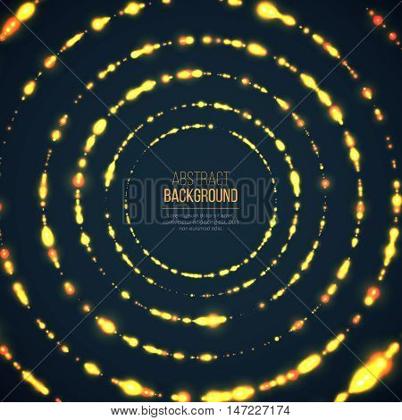 Abstract geometric technology background with glowing sparkles mades circles. Yellow circle particles glitter light effects. Vector illustration