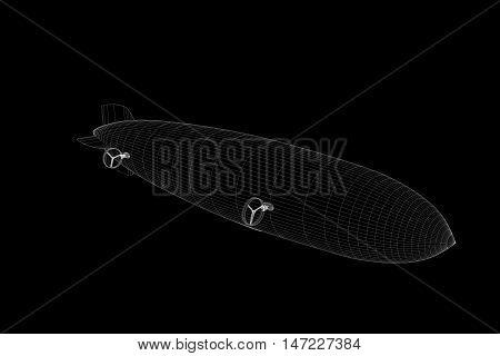 Zeppelin in Hologram Wireframe Style. Nice 3D Rendering