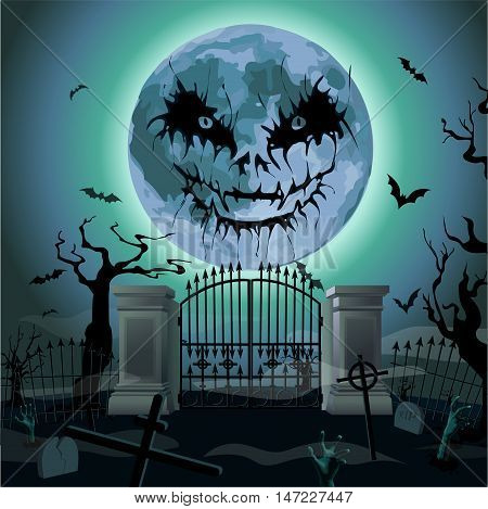 Halloween night: full moon beautiful castle or chateau light inside black trees bat rearmouse. Vector vertical closeup side view sign signboard hand-drawn illustration image to celebration holiday