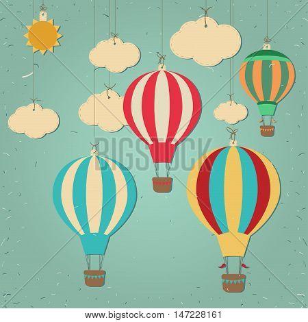 Retro hot air balloon. Scrap elements. Paper cutout style